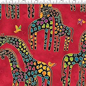 Fat Quarter Frenzy Laurel Burch. Giraffes on Red