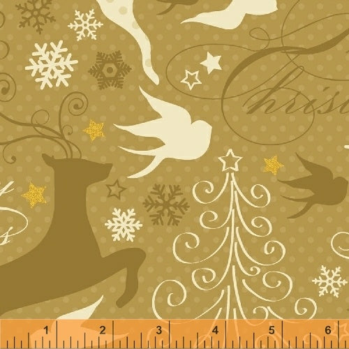 Sparkle Deer and Bird on Gold