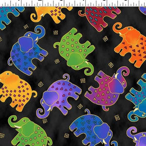 Fat Quarter Frenzy Laurel Burch. Elephants on Black