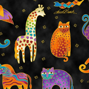 Fat Quarter Frenzy Laurel Burch. Animals on Black