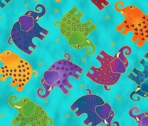 Fat Quarter Frenzy Laurel Burch. Elephants on Blue