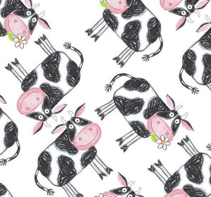 Fat Quarter Frenzy Children Barnyard Boogie Cows White