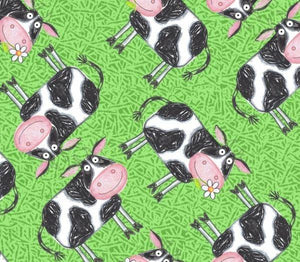 Fat Quarter Frenzy Children Barnyard Boogie Cows Green