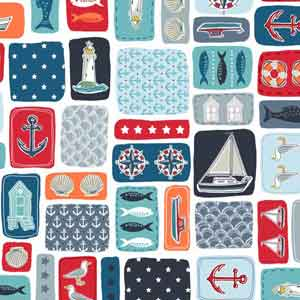 Fat Quarter Frenzy Seaside Makower Marina Montage