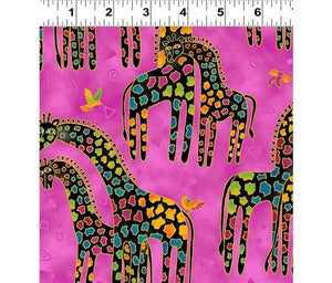 Fat Quarter Frenzy Laurel Burch. Giraffes on Pink