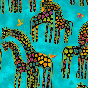 Fat Quarter Frenzy Laurel Burch. Giraffes on Blue