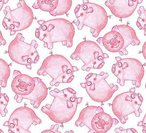 Fat Quarter Frenzy Children Barnyard Boogie Pigs White