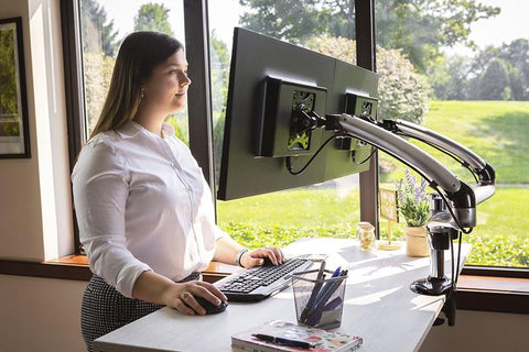 dual monitor arm for your standing desk