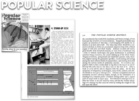 Popular Science first covers the standing desk in late 1800s