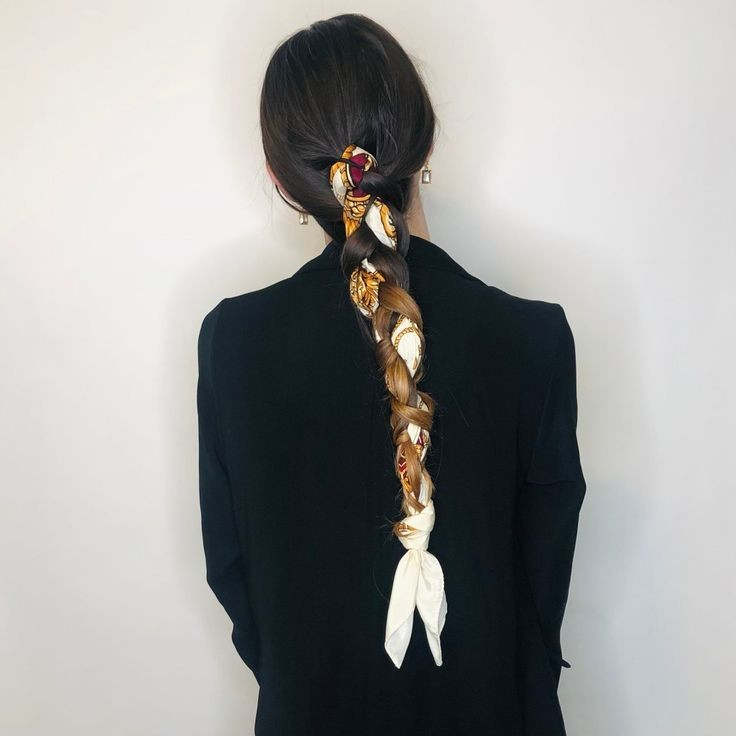 Braid with printed scarf