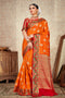 Orange Soft Banarasi Silk Saree