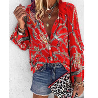 2020 New Design Plus Size Women Blouse V-neck Long Sleeve Chains Print Loose casual Shirts Womens Tops And Blouses-thumbnail
