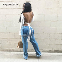 ANJAMANOR Sexy Backless Blouses Casual Women Tops Open Back Lace Up Flare Sleeve White Plus Size Ladies Shirts D27-BI18-thumbnail