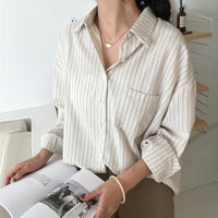 Aachoae Women Stripe Blouse Batwing Long Sleeve Loose Boyfriend Shirt Pocket Turn Down Collar Elegant Office Blouses Ropa Mujer-thumbnail