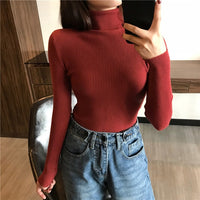 2020 Autumn Winter Thick Sweater Women Knitted Ribbed Pullover Sweater Long Sleeve Turtleneck Slim Jumper Soft Warm Pull Femme-thumbnail