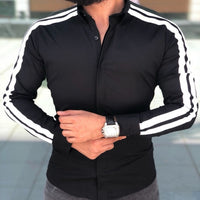 arrival Long Sleeve Mens Shirts Button Up Business Work Smart Formal Plain Dress Top Casual Slim Fit Men Men's Clothing-thumbnail
