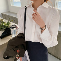 BGTEEVER Office Ladies Blouses Shirts Single-breasted Lapel Loose Female Shirts Tops Women Blouses Femme Blusas Mujer 2020-thumbnail