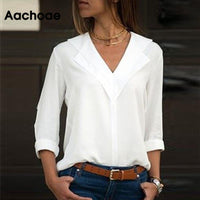 Aachoae White Blouse Long Sleeve Blouse Double V-neck Women Tops and Blouses Solid Office Shirt Lady Blouse Shirt Blusas Camisa-thumbnail