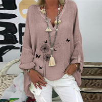 5XL Casual Women V Neck Linen Cotton Blouse Shirt Spring Autumn Long Sleeve Loose Tops 2020 Elegant Print Female Pullover Blusa-thumbnail