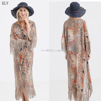 2020 Retro Printed Half Sleeve Chiffon Cardigan Kimono Boho Fringed Tassels Bikini Cover Up Ankle Length Cape Beach Swimsuit-thumbnail