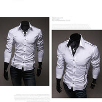 2020 Men's Luxury Stylish Casual Designer Edge Piping Long Sleeve Dress Shirt Muscle Fit Shirts 3 Color 5902-thumbnail