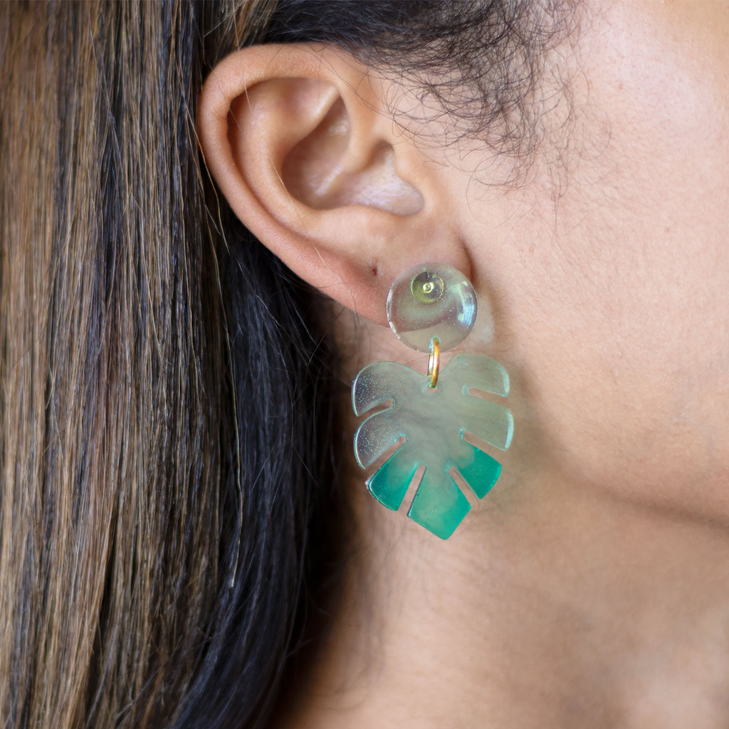 acrylic monstera earrings
