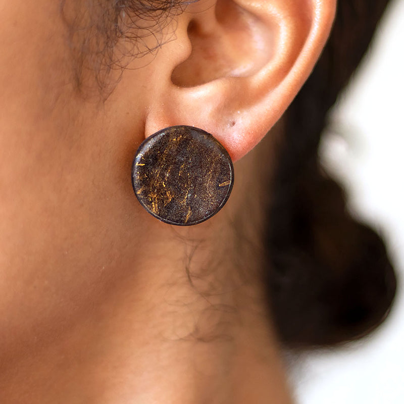 black and gold marble earrings
