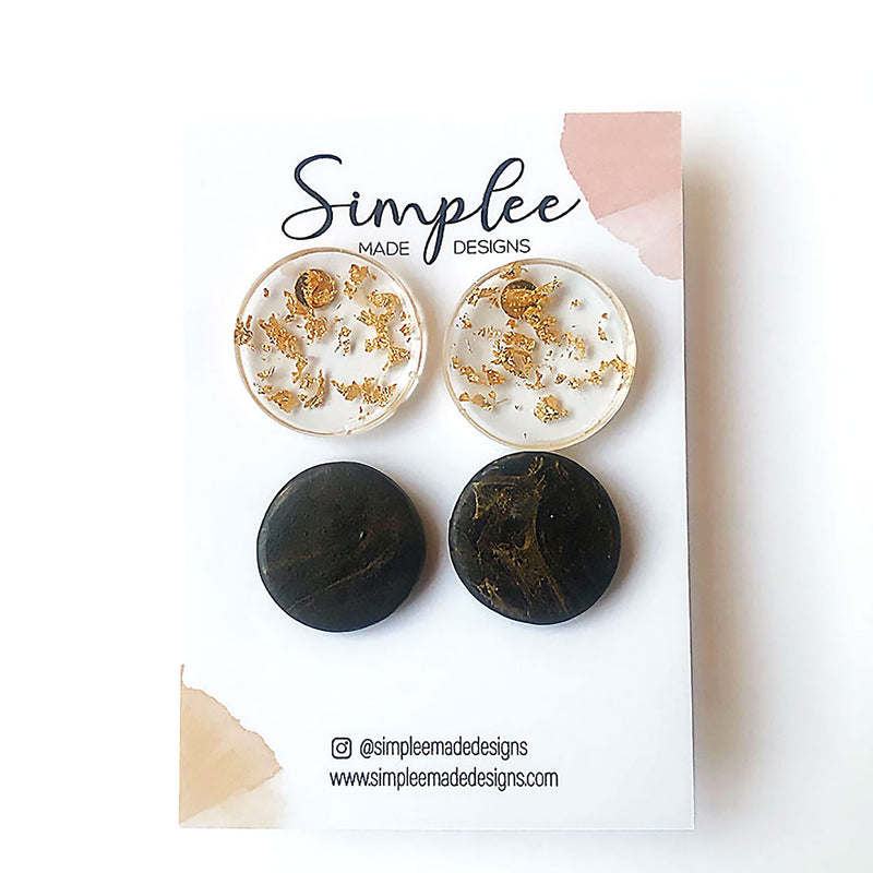 black and gold stud earring pack
