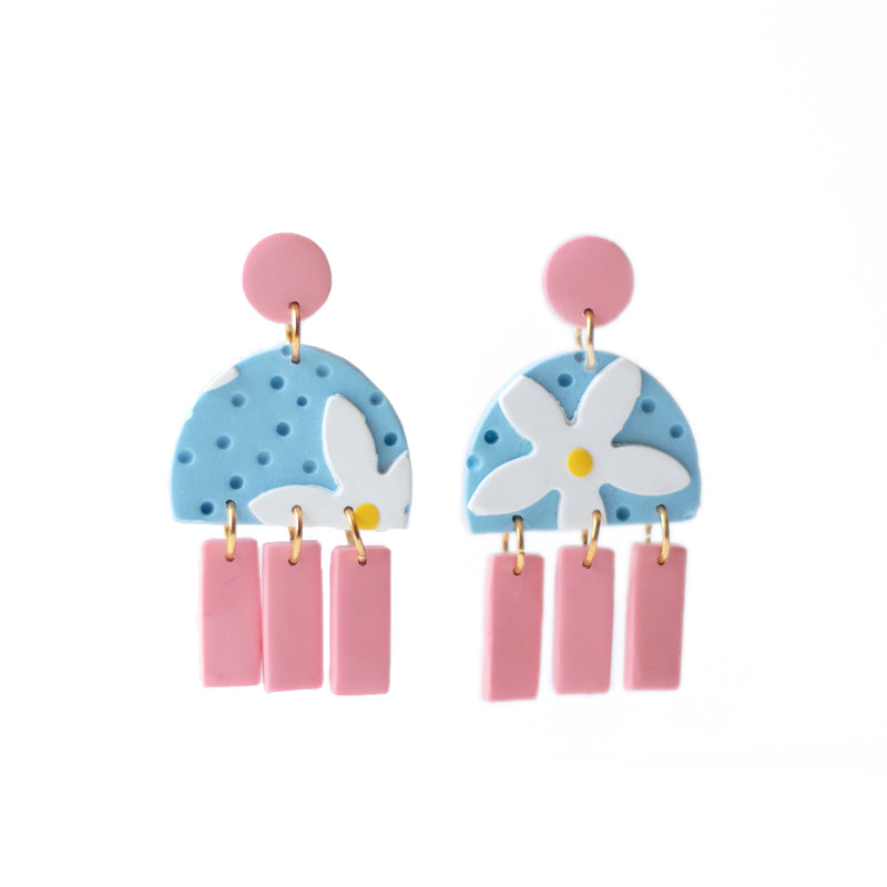 blue daisy flower earrings