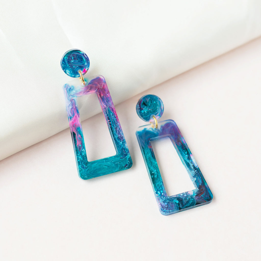 blue resin earrings
