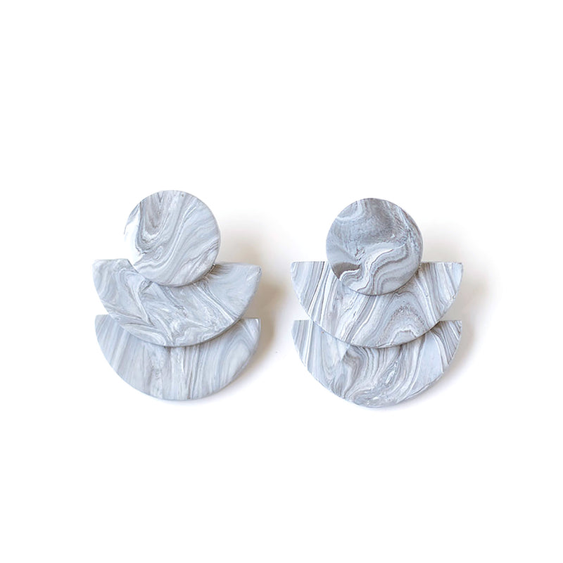 (Wholesale) Gray Marble Earrings