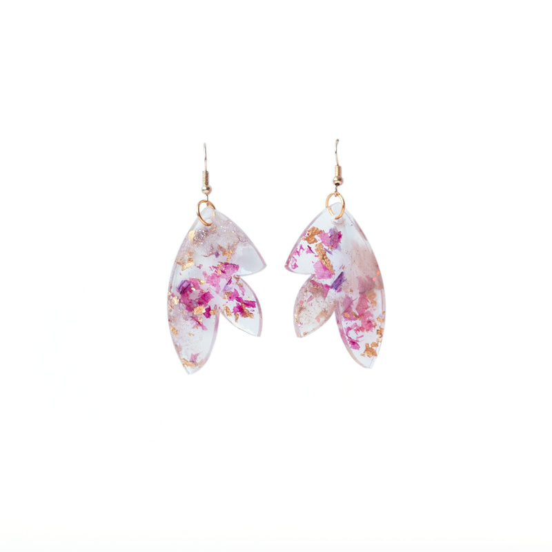 dried flower and gold leaf earrings