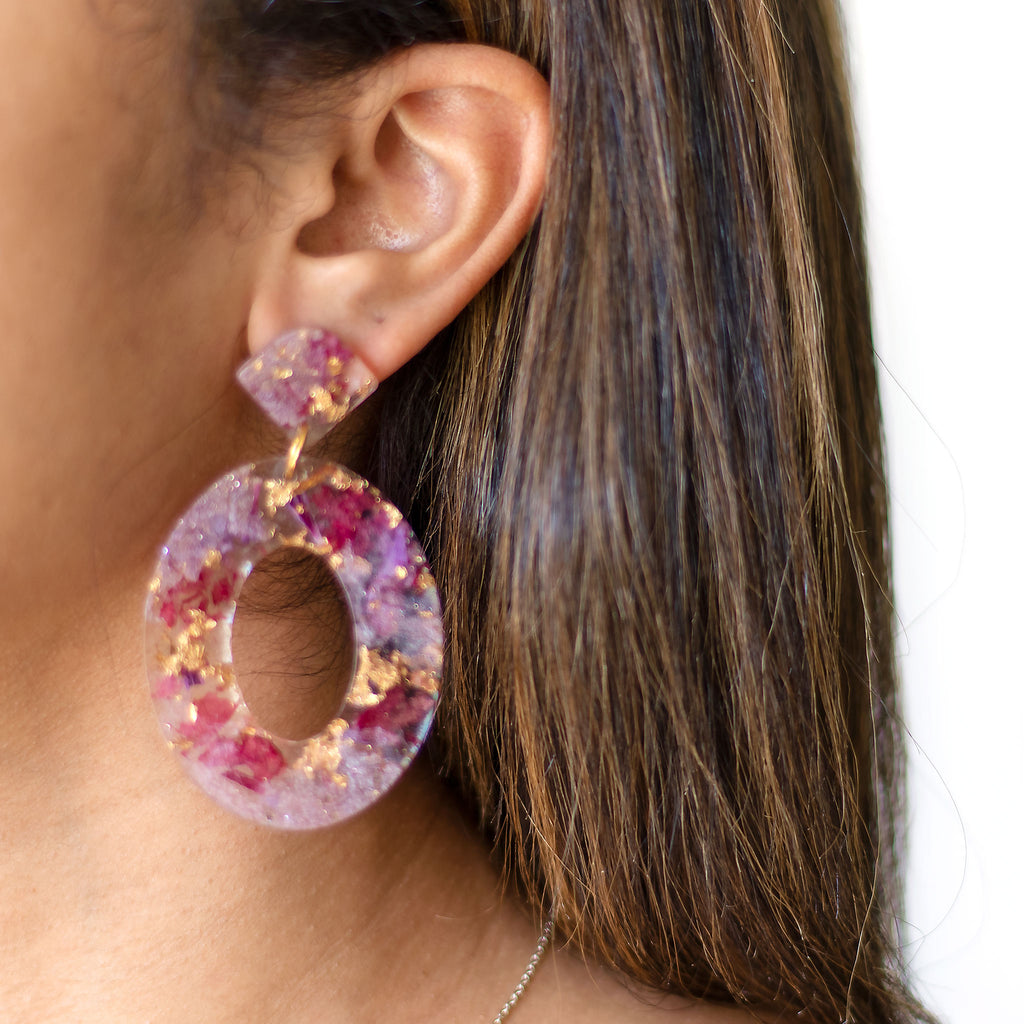 dried flower hoop earrings