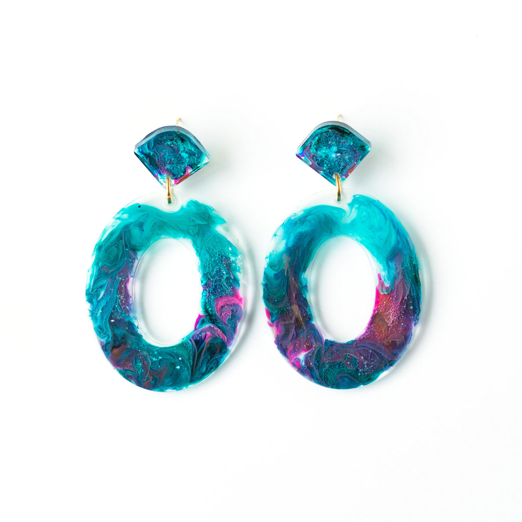 galaxy hoop earrings