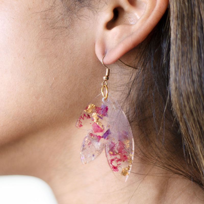 gold flower statement earrings