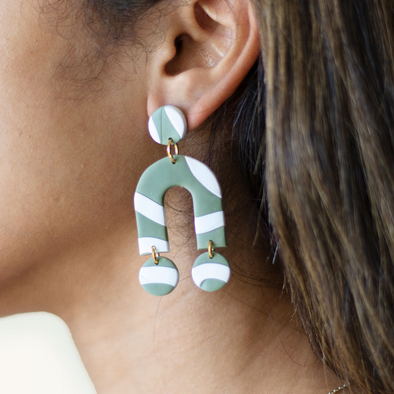 green abstract earrings