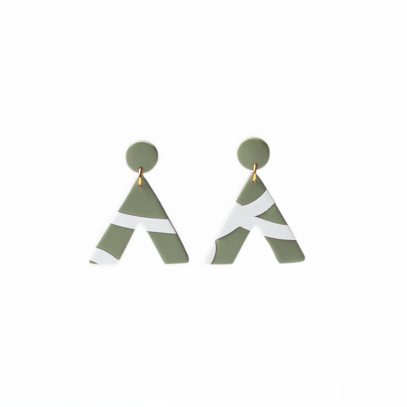 green geometric triangle earrings