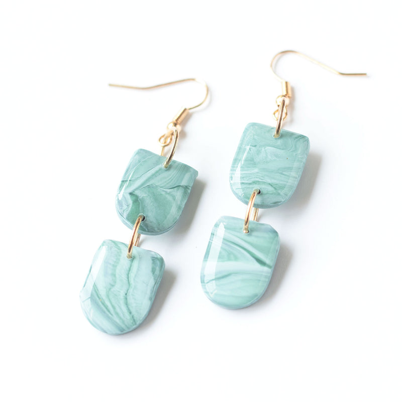 (Wholesale) Jade Marble Dangle Earrings
