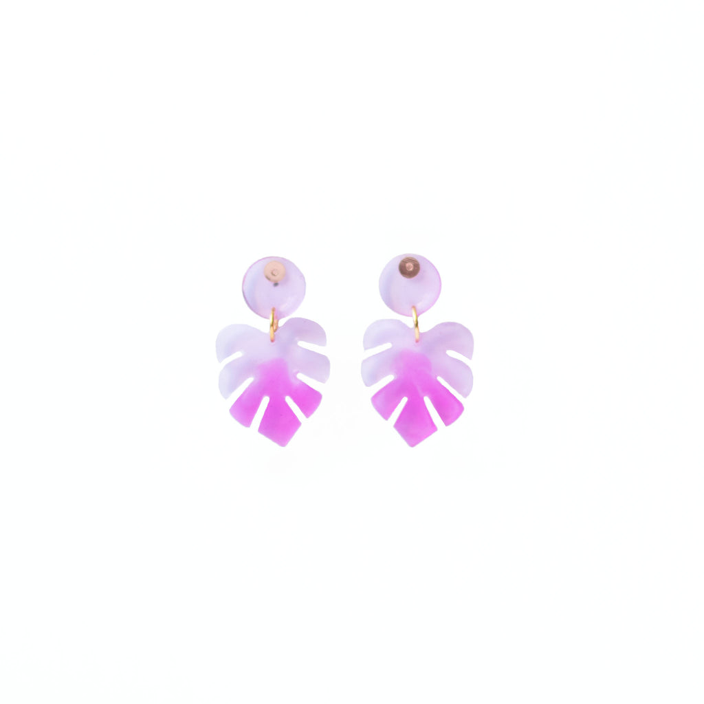 monstera leaf drop earrings