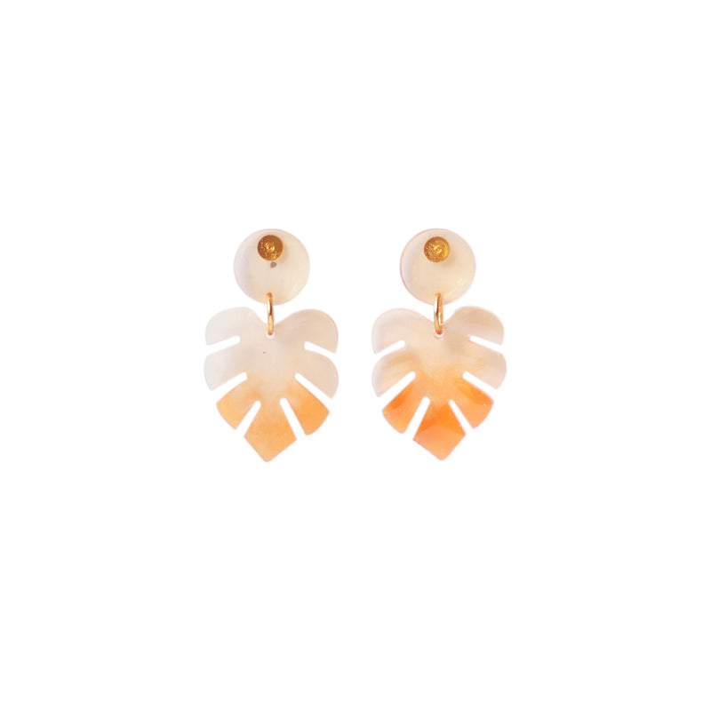 ombre monstera earrings