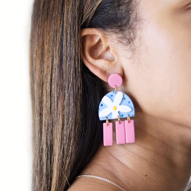 pink and blue flower earrings