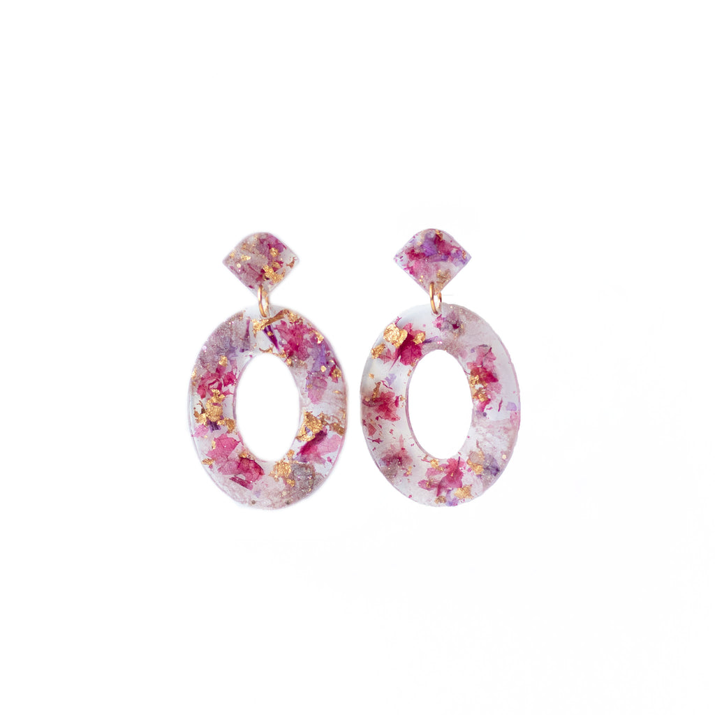 pink and gold flower hoop earrings