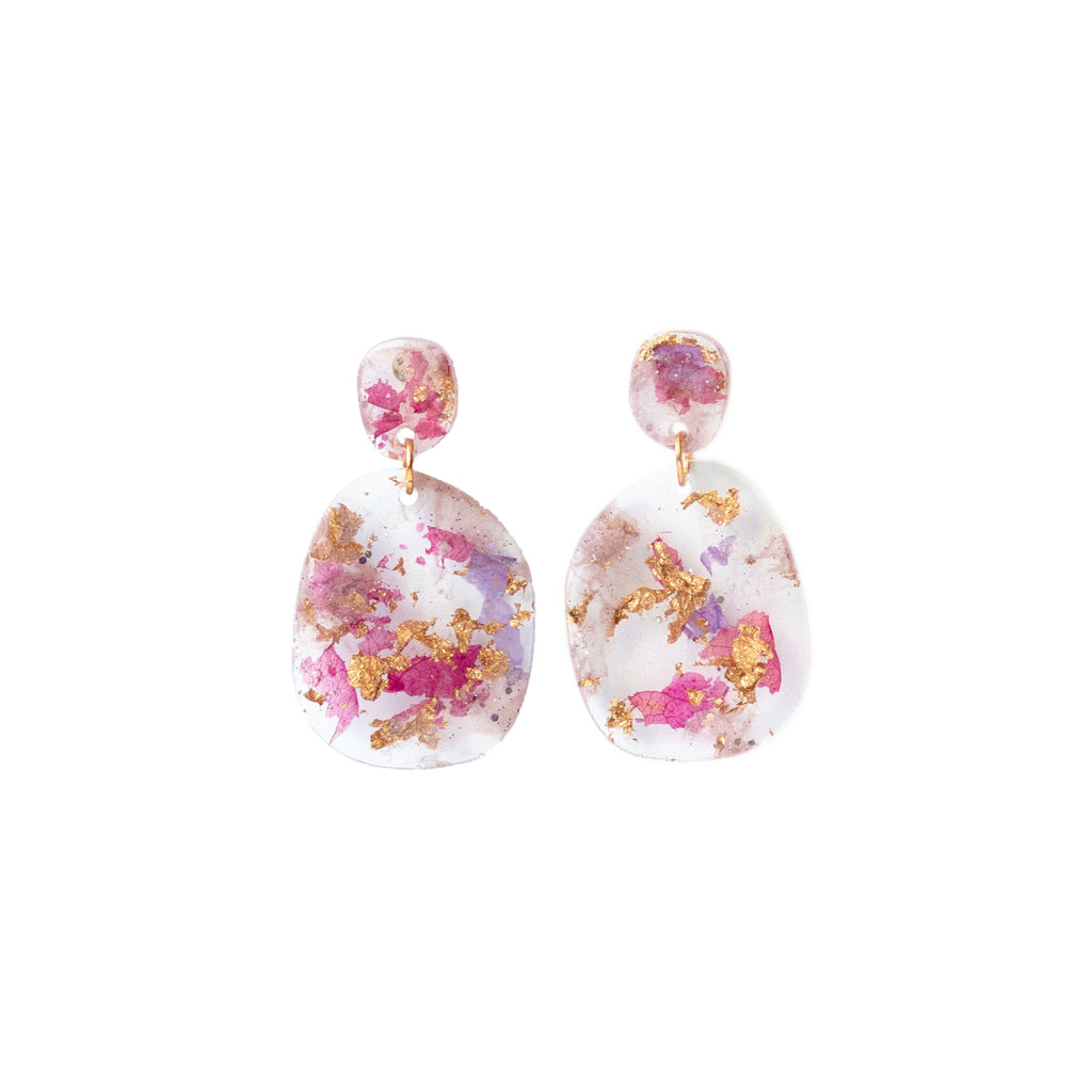 resin flower dangle earrings