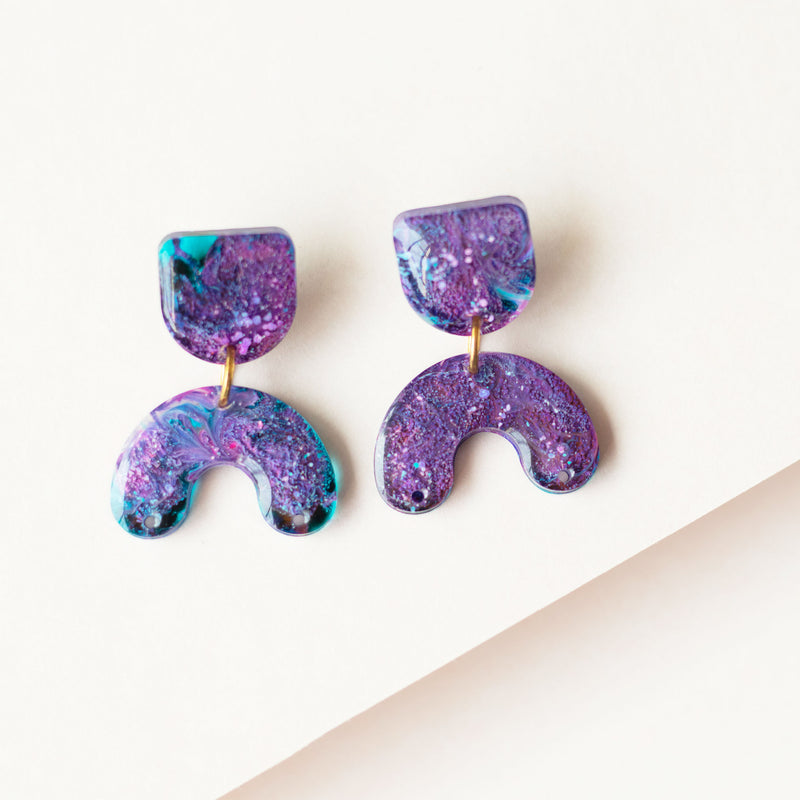 resin galaxy drop earrings