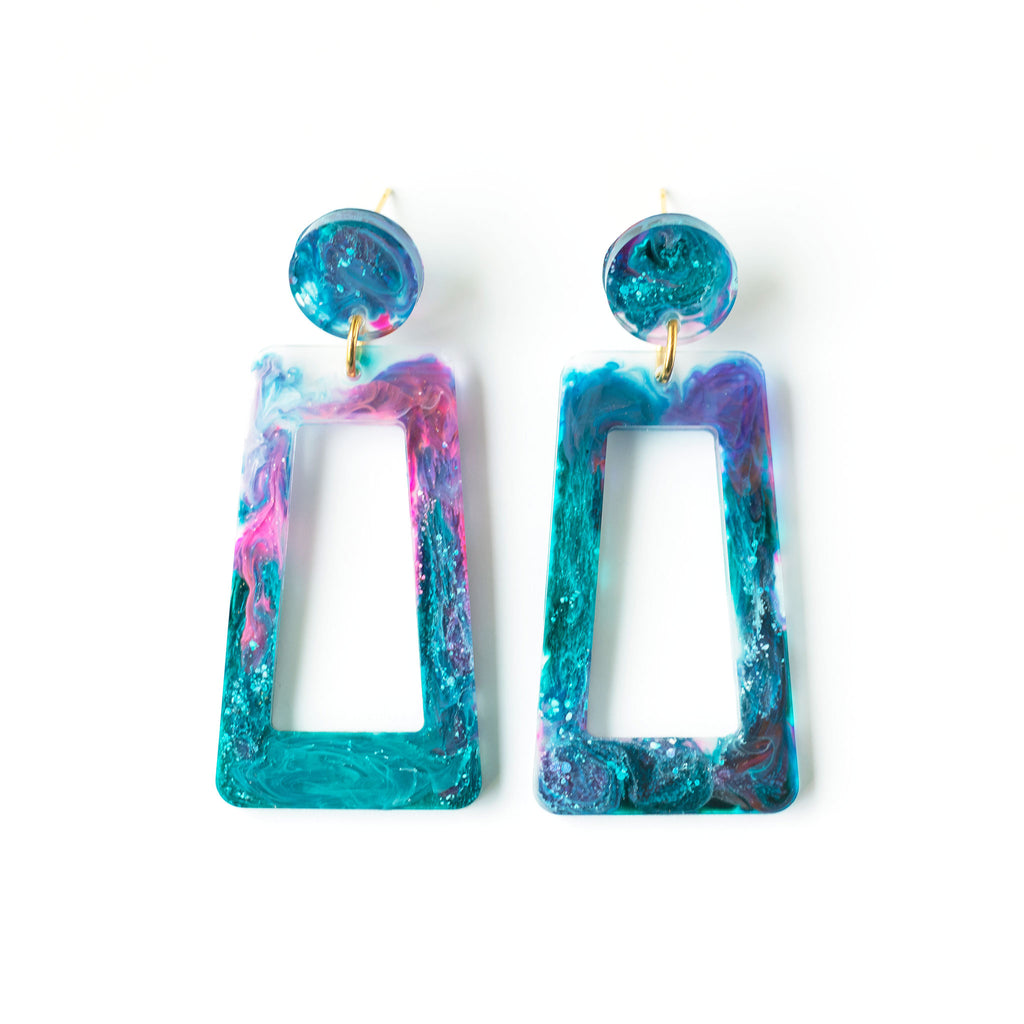 resin galaxy earrings