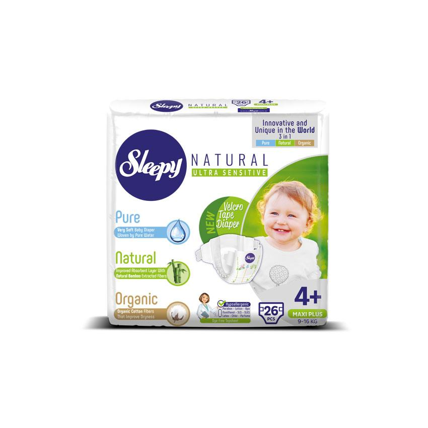 Sleepy Natural Maxi Plus Baby Nappy, Size 4+, 9-16kg, 26pcs