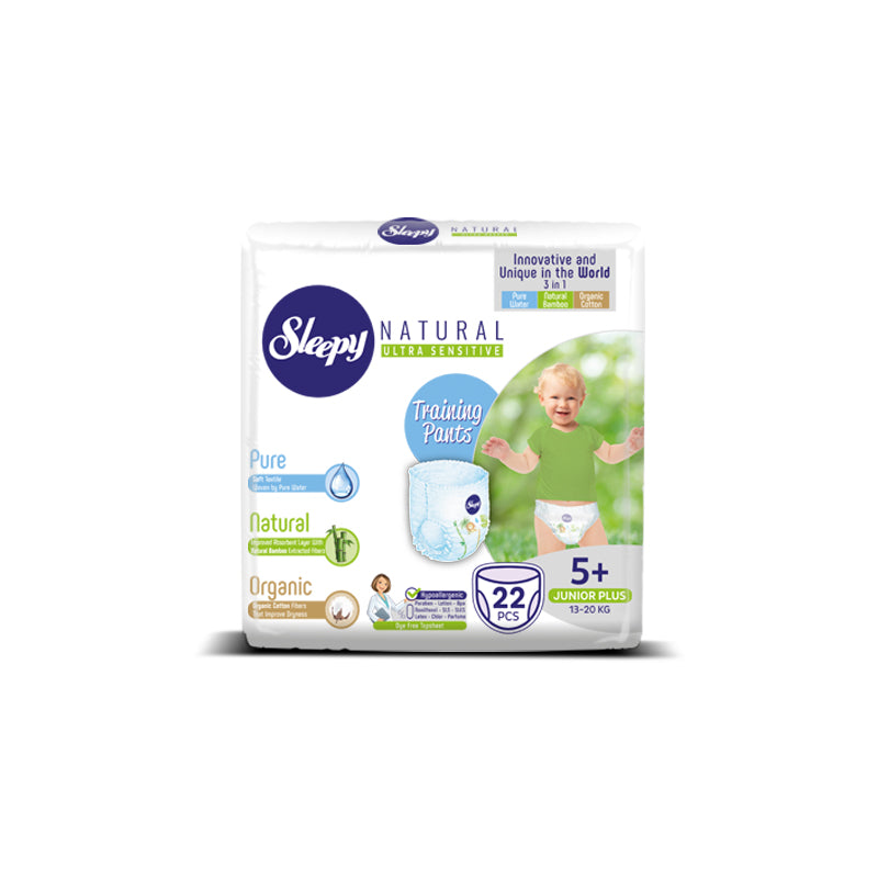 Sleepy Natural Junior Plus Nappy Pants, Size 5+, 13-20kg, 22pcs