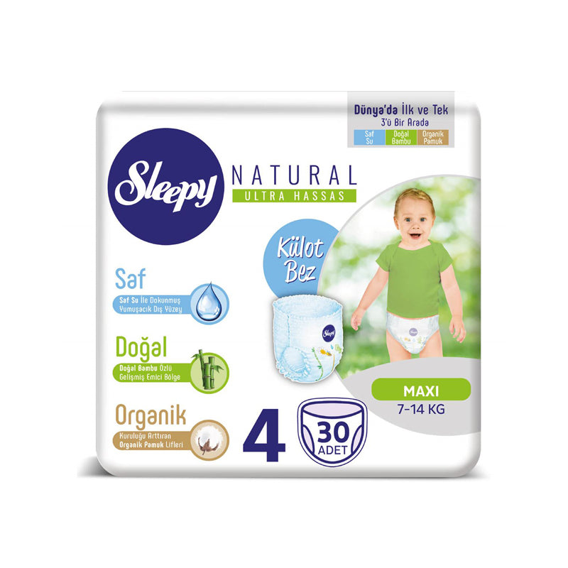 Sleepy Natural Maxi Nappy Pants, Size 4, 7-14kg, 30pcs