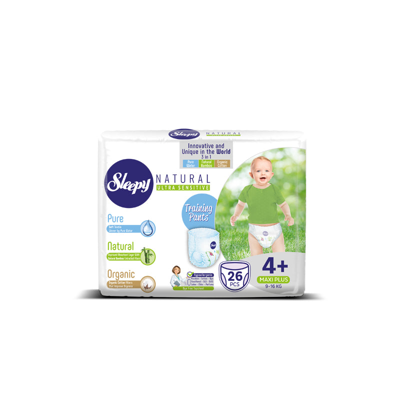 Sleepy Natural Maxi Plus Nappy Pants, Size 4+, 9-16kg, 26pcs