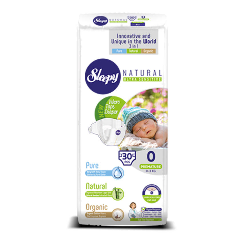 Sleepy Natural Premature Baby Nappy, Size 0, 0-3kg, 30pcs